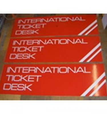 International Ticket Desk Signs