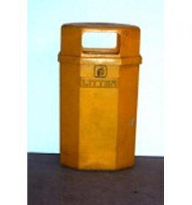 Yellow Plastic Street Bin 102Cm X1
