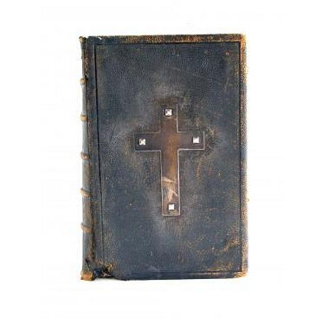 Holy Bible Large Leather Brass Studded Cross 495Mm X 330Mm