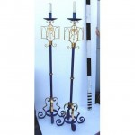 Candleabra X2 Painted Blue And Gold (Floor) Single 1400Mm (Matching Candlesticks