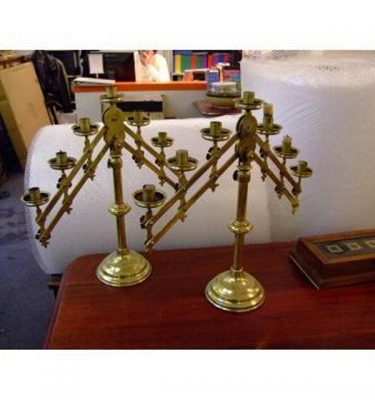 Brass Adjustable 7 Way Candlesticks