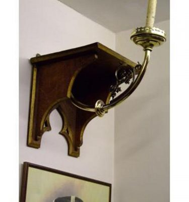 Pair Of Wall Shelf And Brass Candlesticks  X 2 Off