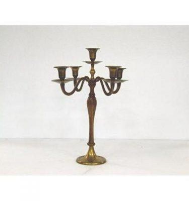 Candlestick X2 Brass 5 Way 390Mm