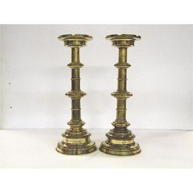 Candlestick X2 Brass Single 490Mm (Good Quality)