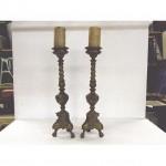 Candlesticks X2 Bronze Ornate Single 490Mm (Very Good