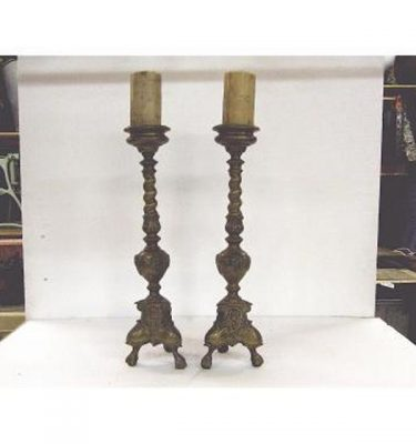 Candlesticks X2 Bronze Ornate Single 490Mm (Very Good