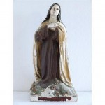 Statue (Plaster) Of Kneeling Mary Brown And Cream Robe (French) 406Mm