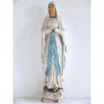 Statue (Plaster) Of Standing Mary In White And Pale Blue Robe356Mm