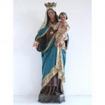 Statue (Plaster) Of Standing Mary Holding Baby Jesus Arm Out Stretched (French)