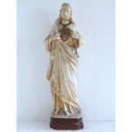 Statue (Plaster) Of Jesus Cream Robes Red And Gilt Heart On Chest (French) 43