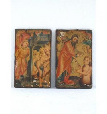 Pair Wood Painted Plaques Religous Scene 247Mm X 158Mm (Each)