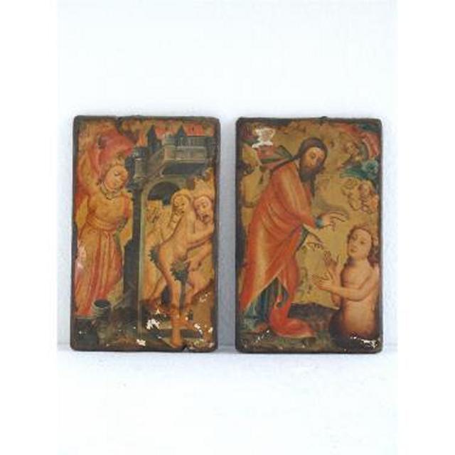 Pair Wood Painted Plaques Religous Scene 247Mm X 158Mm (Each)