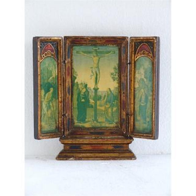 Wood And Gilt  3 Panel Screen Painted Religous Scene On Raised Base 305Mm X 292M