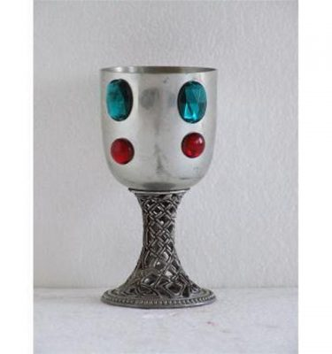 Mock Silver Chalice Pierced Stem Green And Red Jewels 152Mm