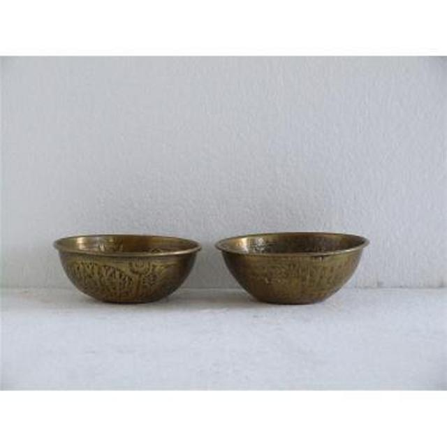 Pair Brass Dishes With Embossed Motif 51Mm X 127Mm