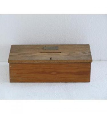 Wood Donation Box Brass Plaque 89Mm X 305Mm