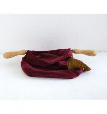 Red Velvet Donation Bag Gold Tassle Double Wood Handle