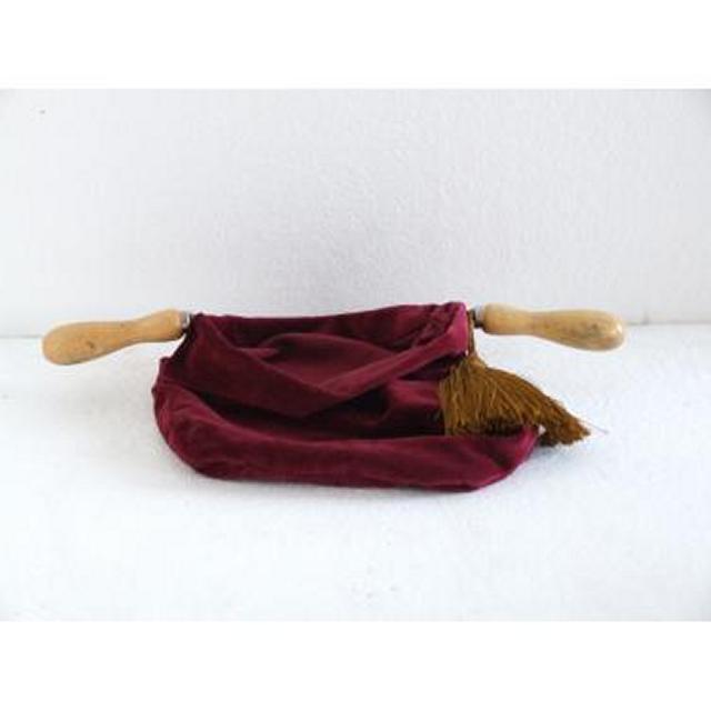 Red Velvet Donation Bag Gold Tassle Double Wood Handle