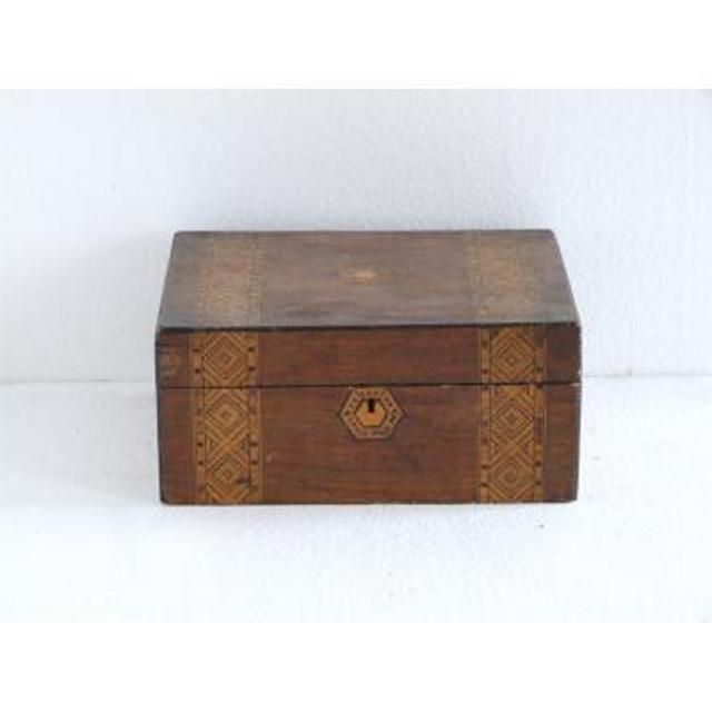 Marquetry Wood Box With Lid 140Mm X 305Mm