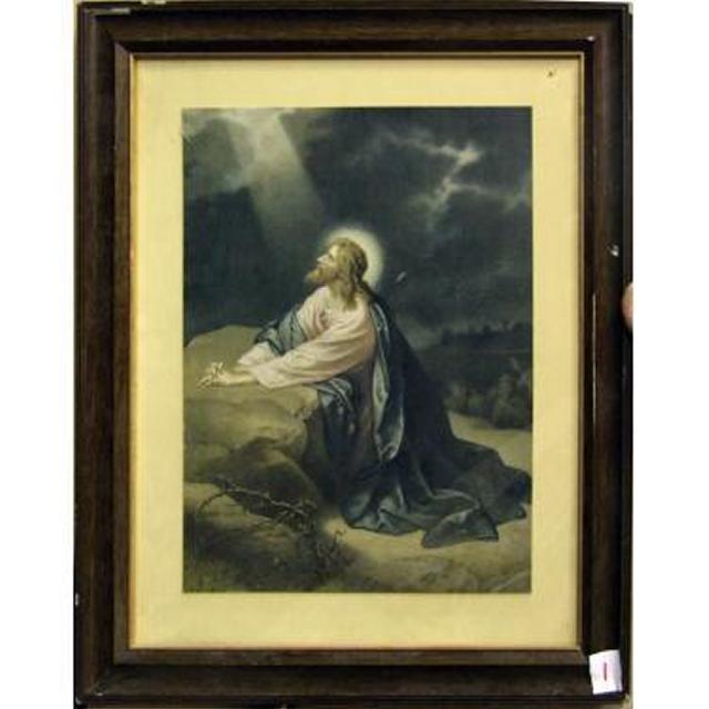 Mahogany Frame Kneeling Jesus In Ray Of Light