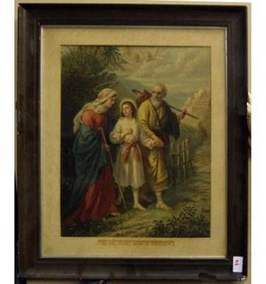 Mahogany Frame 'The Holy Family Going To Jerusalem'