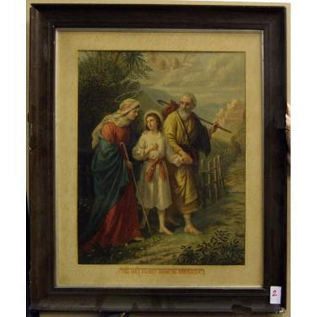 Mahogany Frame 'The Holy Family Going To Jerusalem'