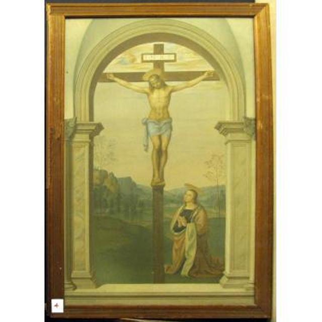 View Through Stone Arch Jesus On Cross Kneeling Mary