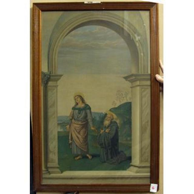 View Through Stone Arch Kneeling Bearded Man Standing Mary Both With Halo (B)