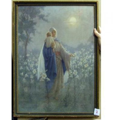 Mary Carrying Baby Jesus Through Flower Field