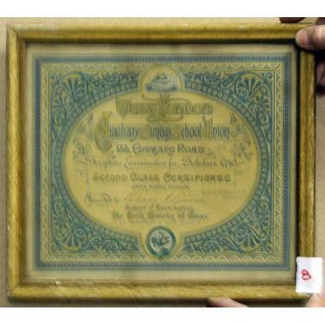 Certificate West London Auxilary School Union