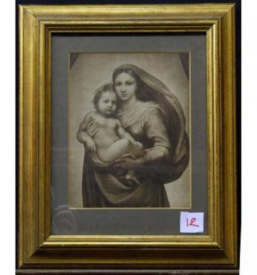 Gilt Frame Black And White Mary Holding Baby Jesus