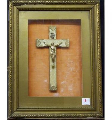 Gilt Framed Mkitchen Misc Of Pearl Crucifix With Orange Background