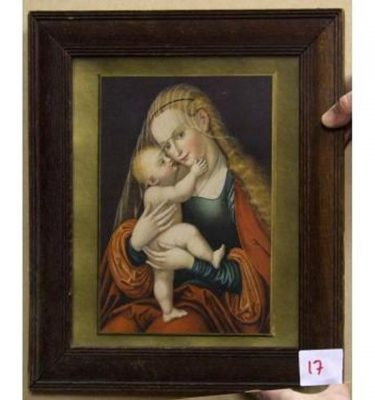 Gilt And Magogany Frame Blond Mary Holding Baby Jesus