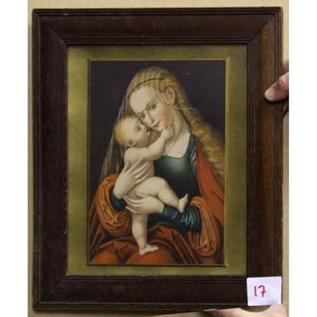 Gilt And Magogany Frame Blond Mary Holding Baby Jesus