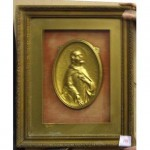 Gilt Frame Gold Oval Christ Relief Plaque Red Background