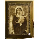Sepia Mary Holding Baby Jesus Both With Halo