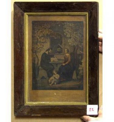 Wood And Gilt  Frame JosephMaryJesus At Table Under Blossom Tree