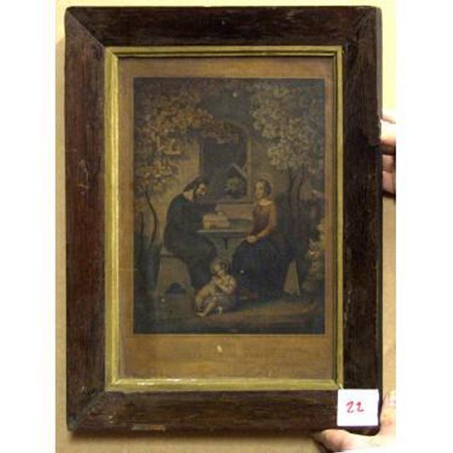 Wood And Gilt  Frame JosephMaryJesus At Table Under Blossom Tree