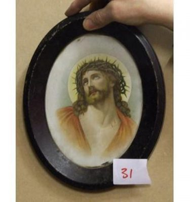 Oval Frame Portrait Christ With Thorn Crown
