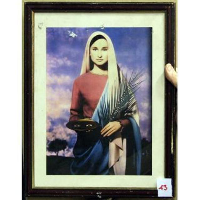 Mary Holding Palm Leaf And Dish With Eyes