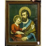 Christ With Young Jesus Sitting On Knee Both With Halo