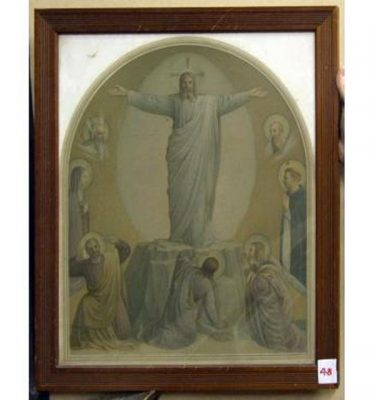 Wood Frame Jesus Arms Outstretched Standing On Rock Men Standing Beneath