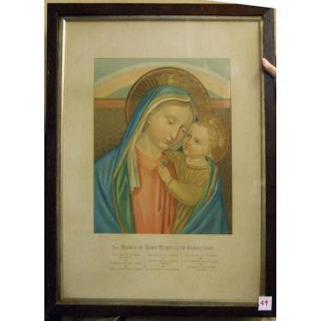 Mary With Halo Holding Baby Jesus In Arms With Crown And Halo