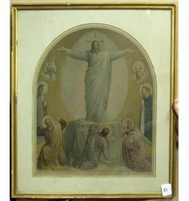 Gilt Frame Of Jesus Arms Outstreched Standing On Rock Men Standing Beneath