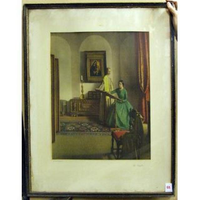 Two 19Thc Ladies In Room With Image Of Madonna And Child On Wall