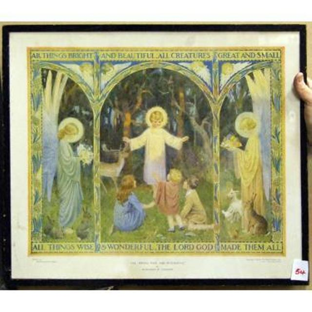 """Children In Field With Angel """"""""""""""""All Thing Bright And Beautiful'"""
