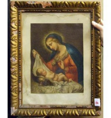 Gilt Frame Mary With Baby Jesus Naked In Blanket On Pillow