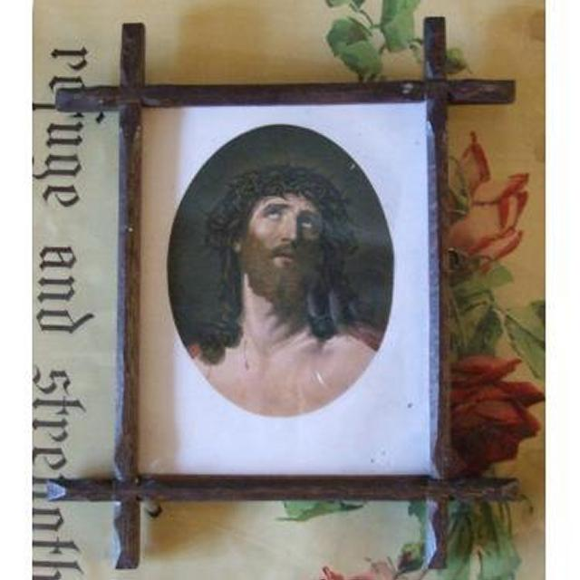 Wood Crossed Edged Frame With Portrait Of Jesus With Crown Of Thorns