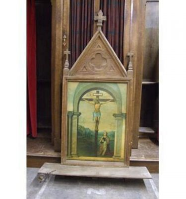 Jesus On Cross In Ornate Woode Frame (Lovely)