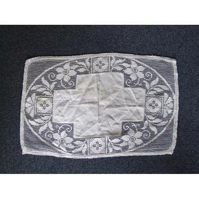 White Lace RunnerLarge Cross And Flowers 290Mm X 450Mm